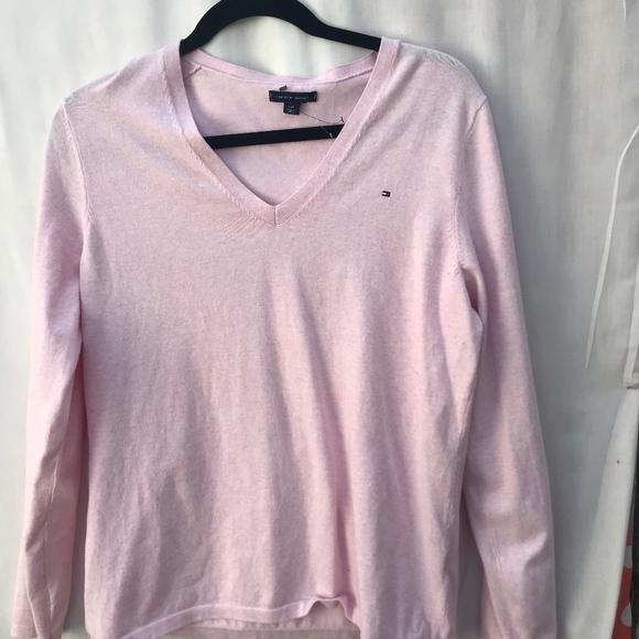 Size XL Tommy Hilfiger Women/'s V-neck Sweater Light Pink